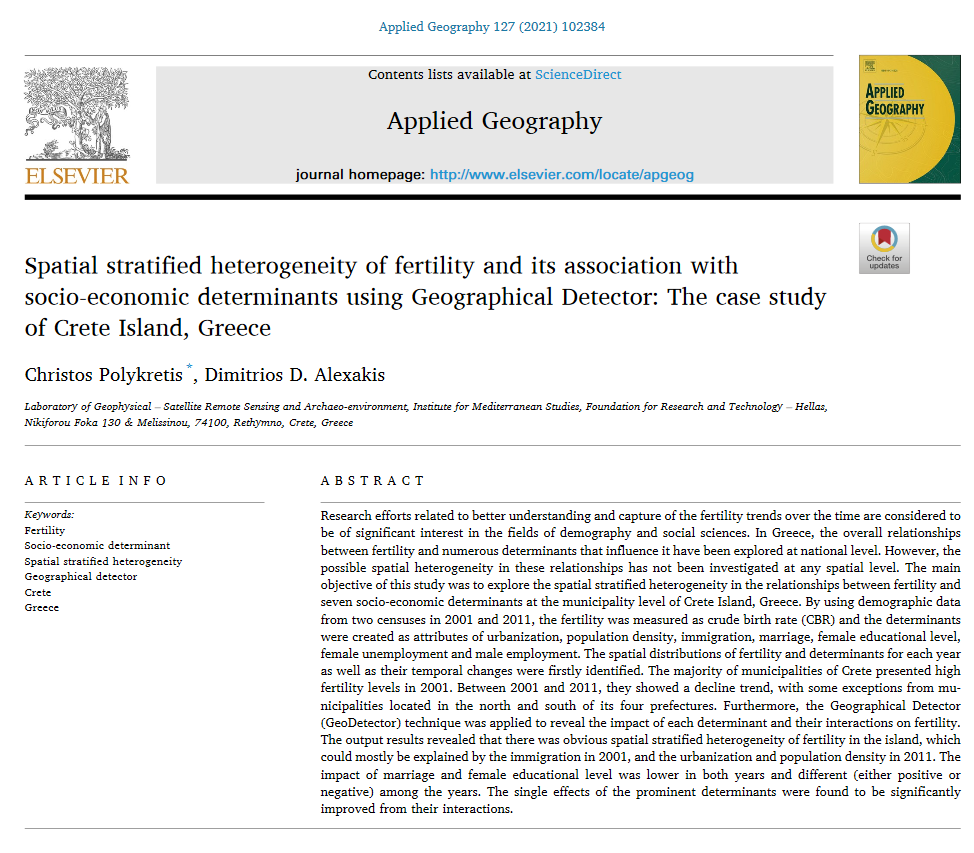 Spatial stratified heterogeneity of fertility and its association with socio-economic determinants using geographical detector: The case study of Crete island, Greece