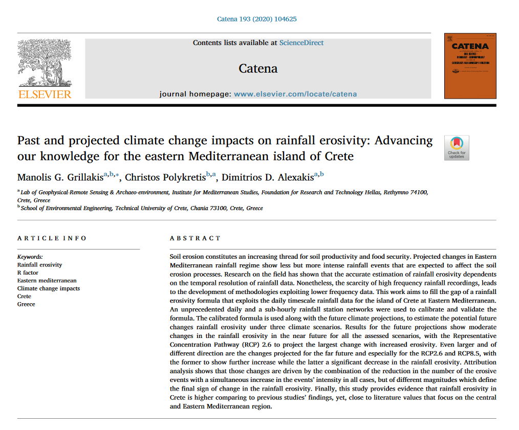 Past and projected climate change impacts on rainfall erosivity: Advancing our knowledge for the eastern Mediterranean island of Crete