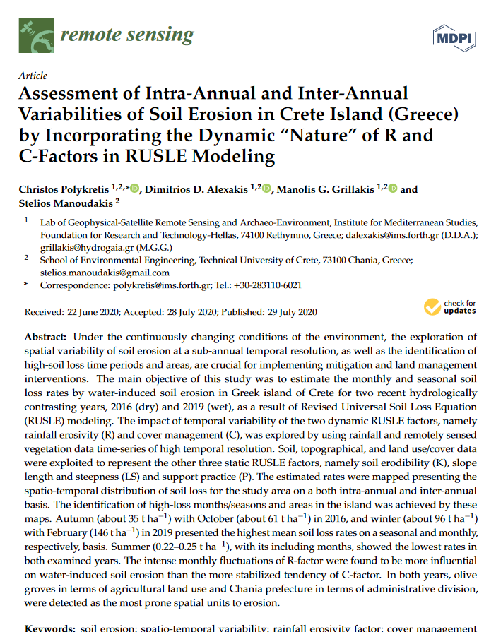 Assessment of intra-annual and inter-annual variabilities of soil erosion in Crete island (Greece) by incorporating the dynamic nature of R and C-factors in RUSLE modeling