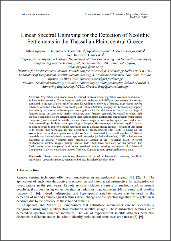 Linear Spectral Unmixing for the Detection of Neolithic Settlements in the Thessalian Plain , central Greece